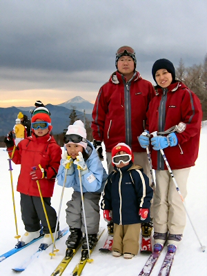 5人でスキー
